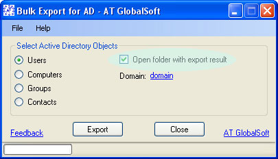 AT GlobalSoft Bulk Export for Active Directory